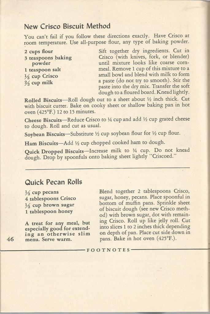 Vintage Recipes  1940 Biscuits Muffins and Bread