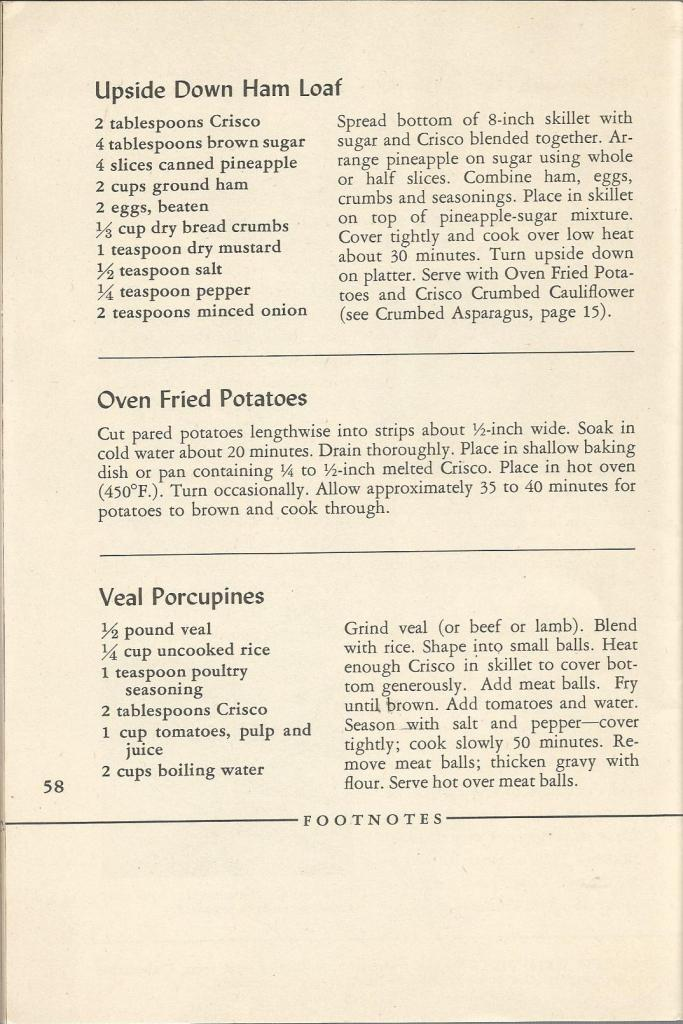 Vintage Recipes:  1945 Crisco Cookbook - Main Dishes