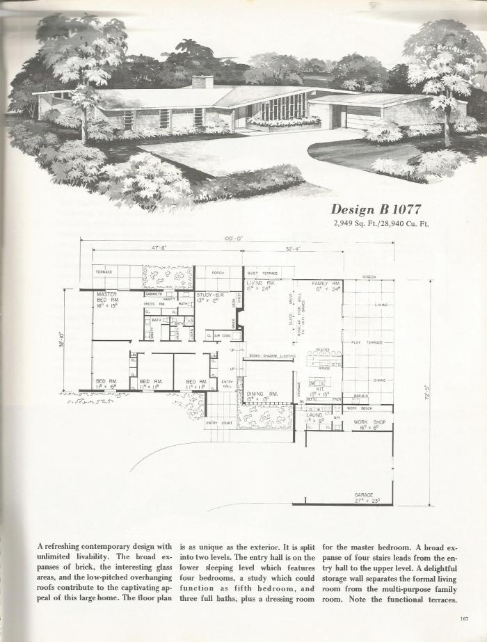 Vintage house plans refreshing mid century contemporaries for Mid century home plans