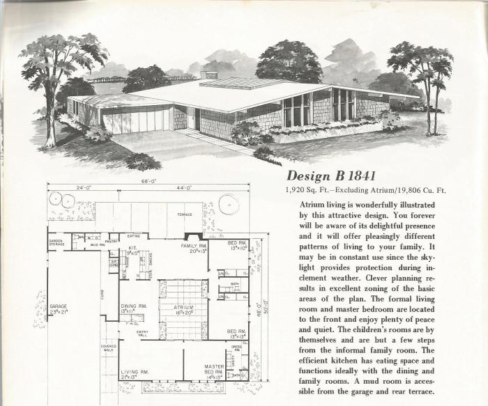 Vintage House Plans, 1960s, Mid Century Homes