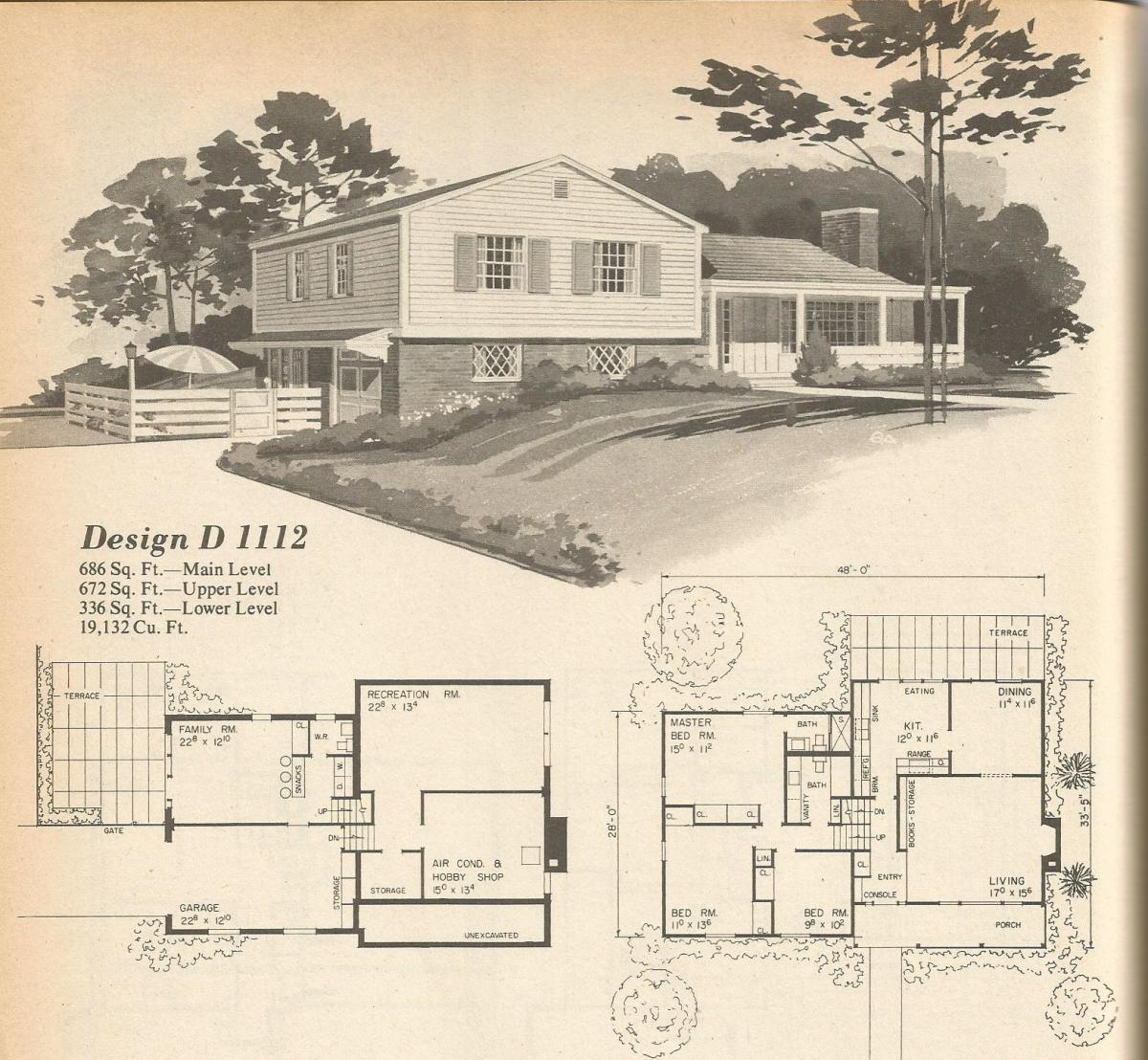 Vintage House Plans, mid century homes, multi level home plans