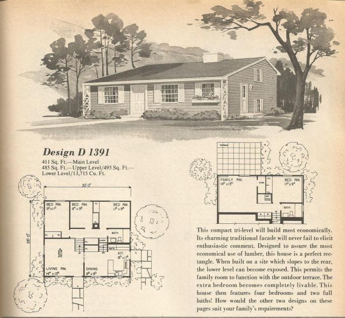 Vintage house plans multi level homes part 2 for Antique house plans