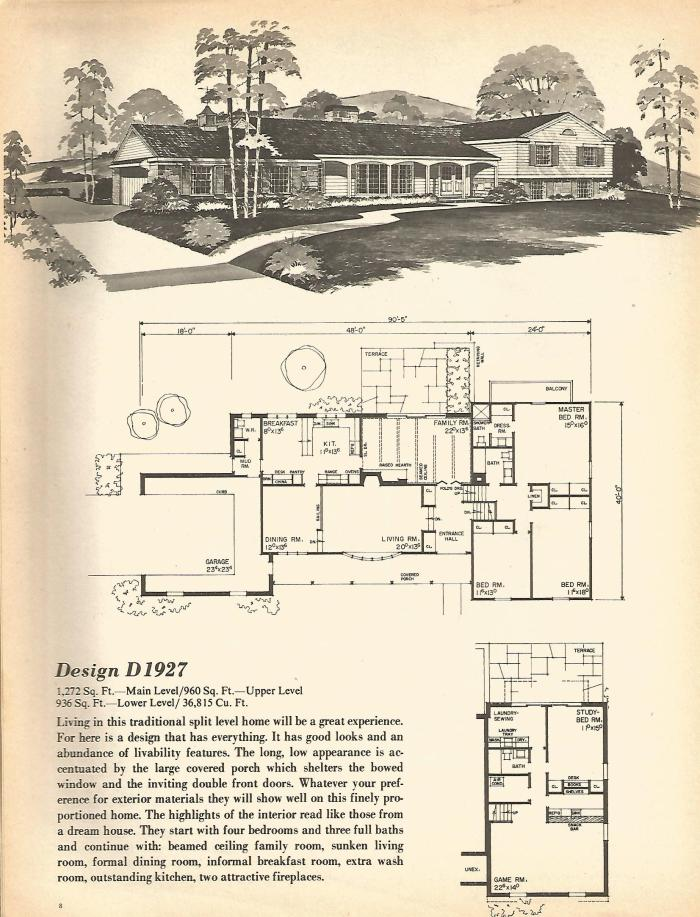 Vintage house plans multi level homes part 1 antique for Mid century home plans