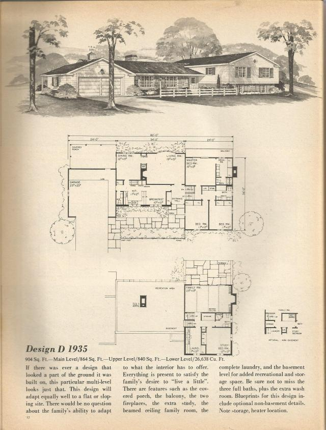 Vintage house plans multi level homes part 1 antique for Multi level house plans