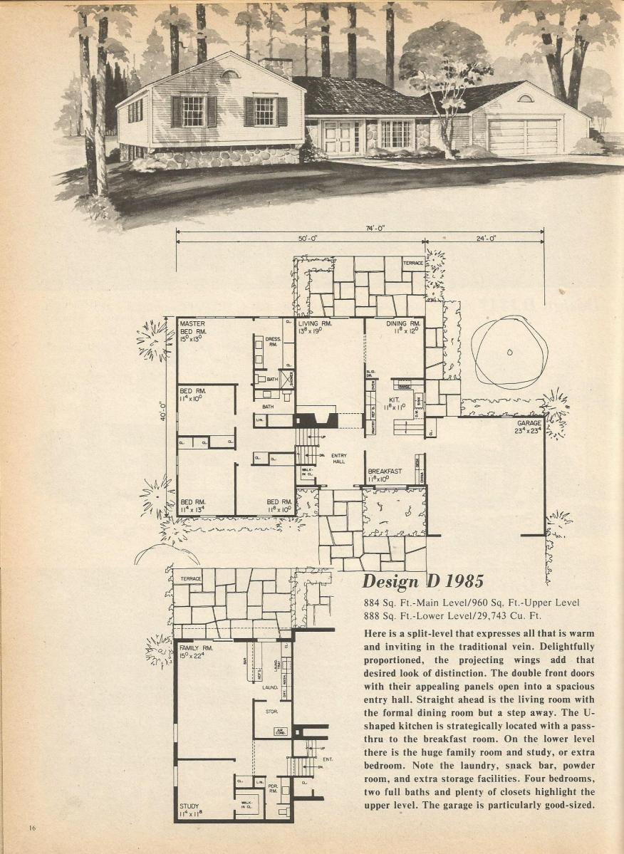 Vintage House Plans, mid century homes, multi level home plans