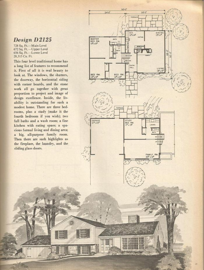 vintage house plans, mid century house plans,