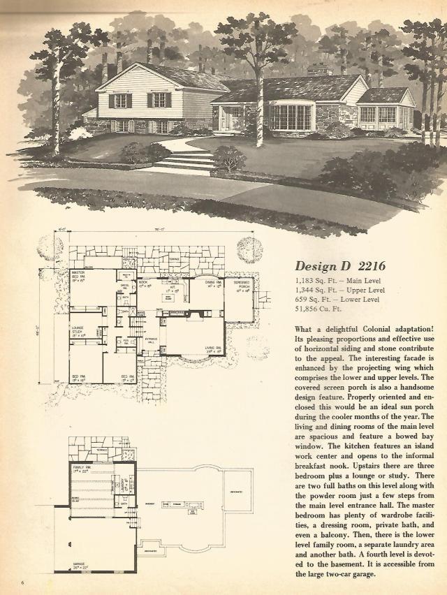 Vintage house plans multi level homes part 1 antique for Split level house plans 1960s