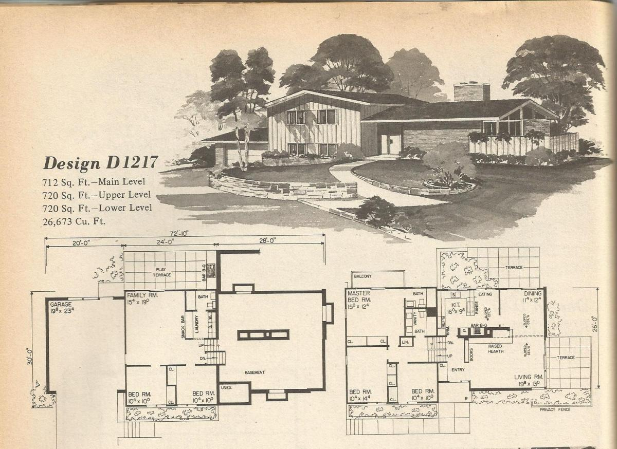 Vintage House Plans, Mid Century Houses,
