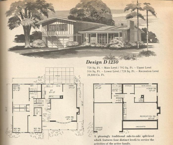 Vintage House Plans Multi Level Homes Part 4 Antique