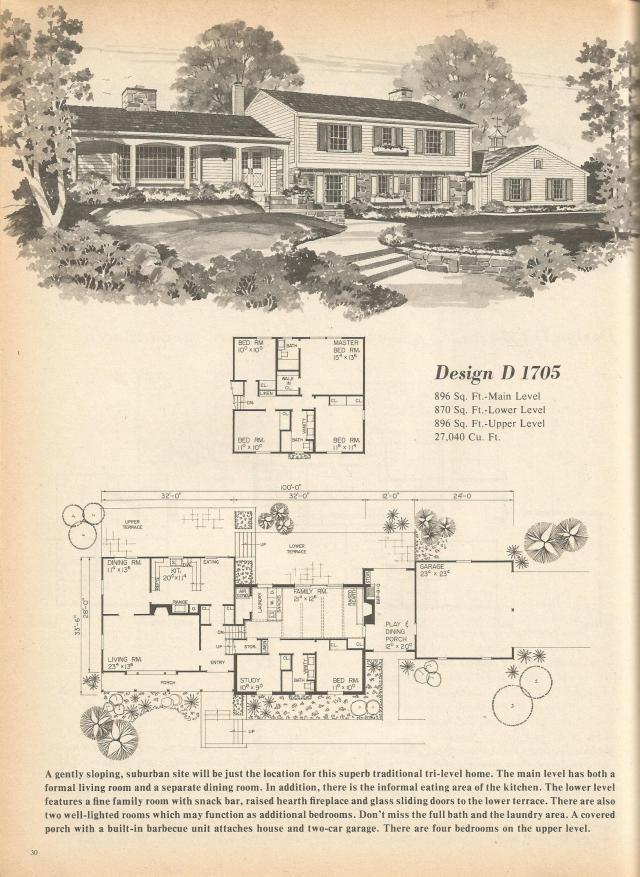 Vintage house plans multi level homes part 4 antique for Antique house floor plans