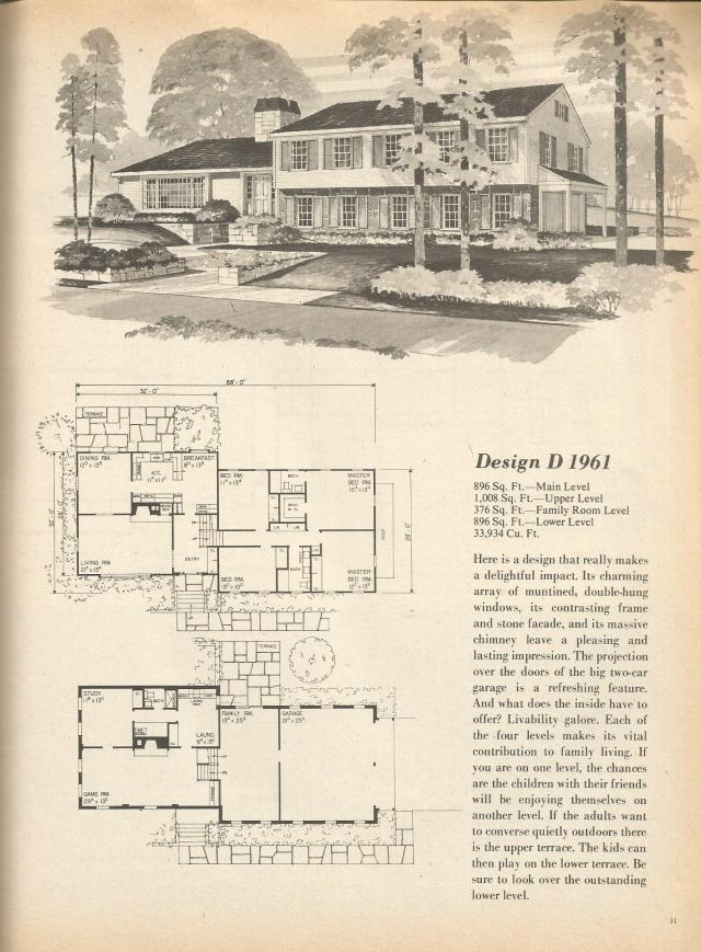 Vintage house plans multi level homes part 4 antique for Multi level house plans