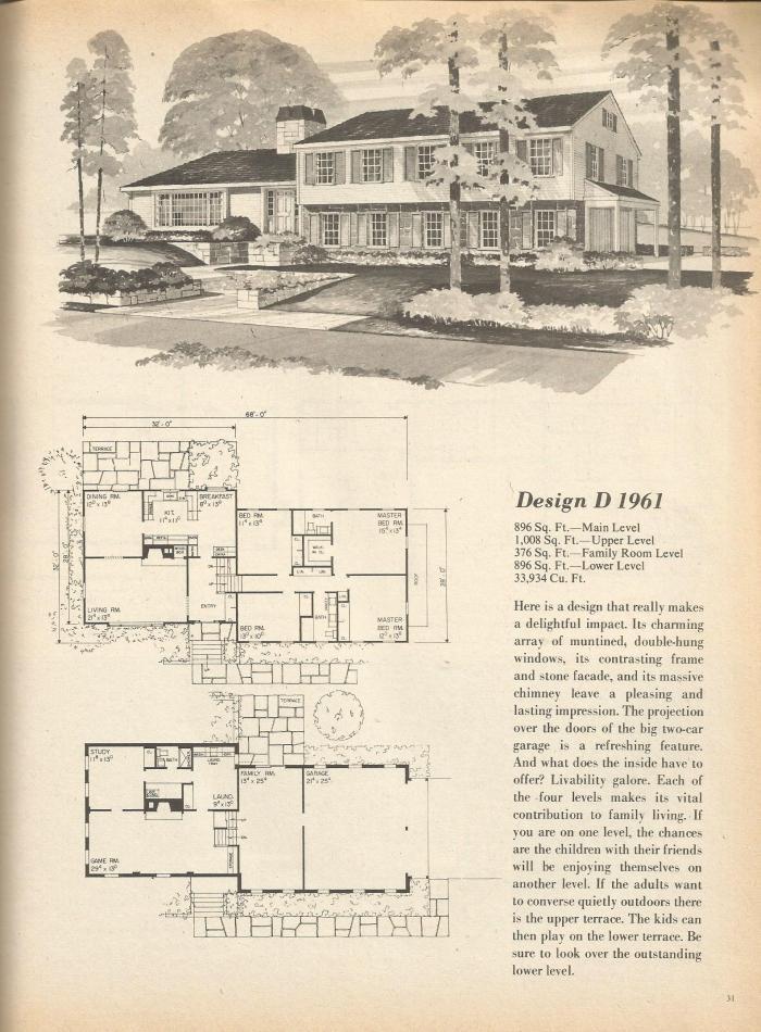 Vintage house plans multi level homes part 4 antique for Multi level home designs