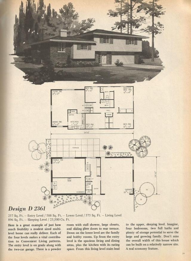 Vintage house plans multi level homes part 5 antique for Multi level home plans