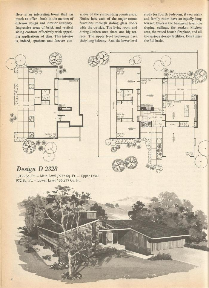 Vintage house plans multi level homes part 8 antique for 1970s house floor plans