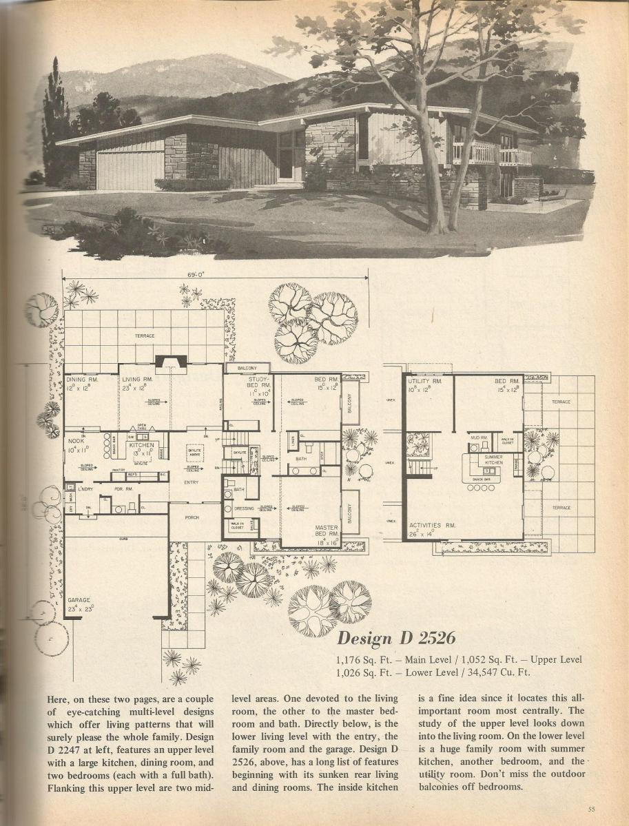 Vintage House Plans, Mid Century Homes, 1970s Homes
