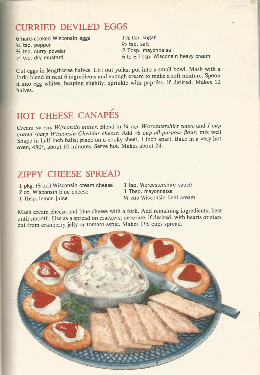 Vintage Recipes, 1960s Appetizers, Deviled Eggs, Cheese Spread