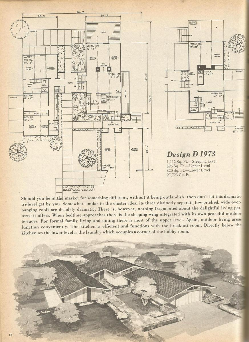 Vintage house plans 1973 for Vintage floor plans