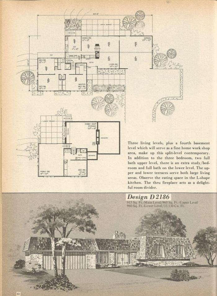 Vintage House Plans, Mid Century Homes, 1970s Floor Plans