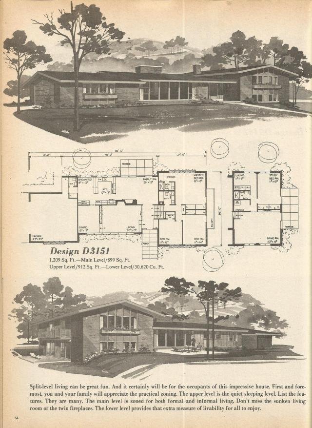 Vintage house plans multi level homes part 10 antique for 1970s house floor plans