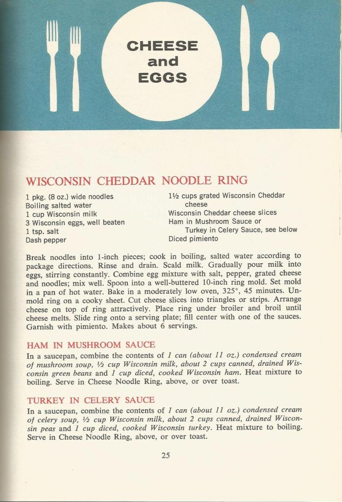 Vintage Recipes 1964  Cheese and Eggs