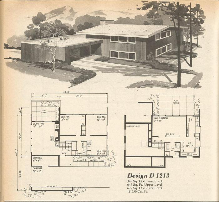 Vintage house plans multi level homes part 14 antique for Multi level house plans
