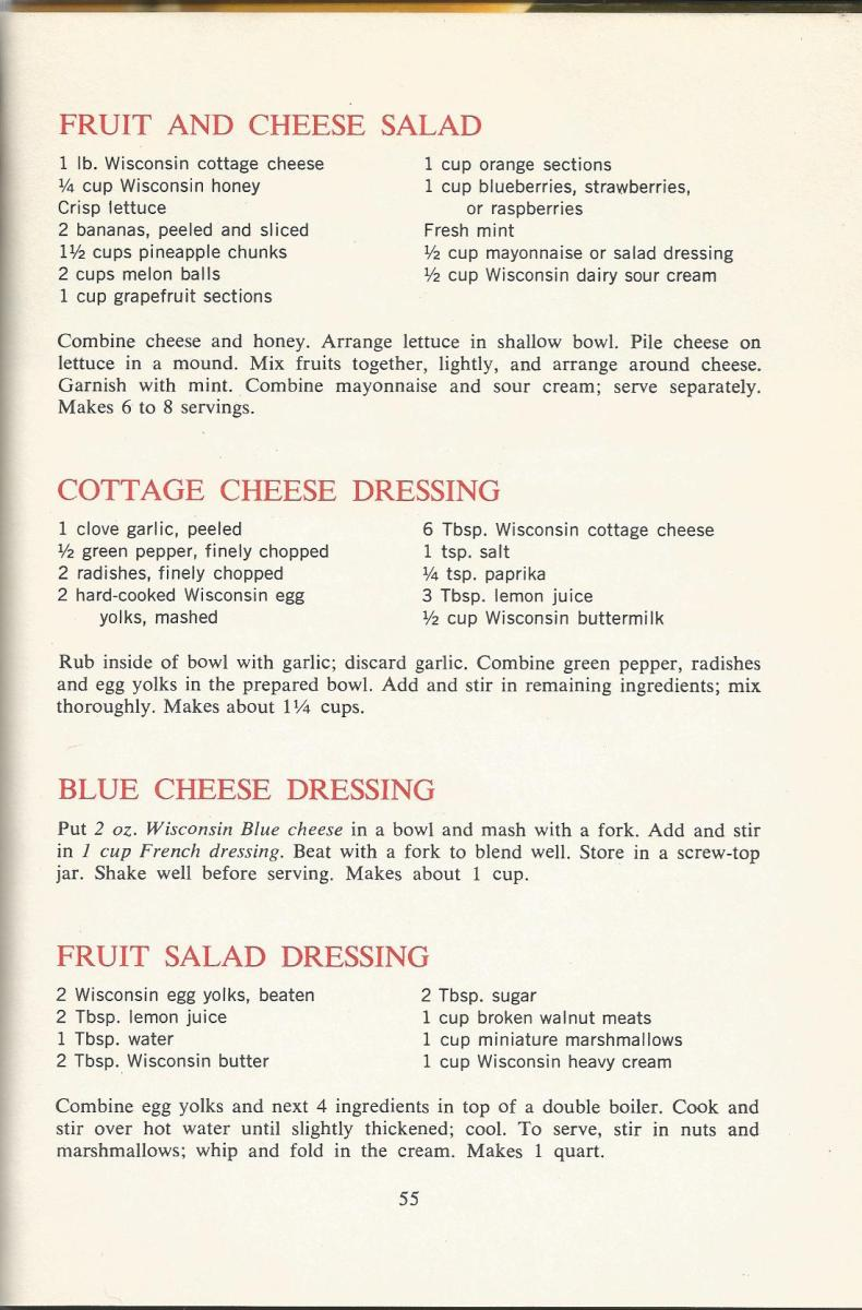 Vintage Recipes 1964 Salads and Dressings