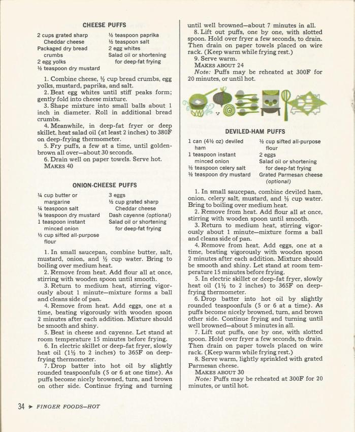 Cocktail Time 1965  Finger Foods Hot