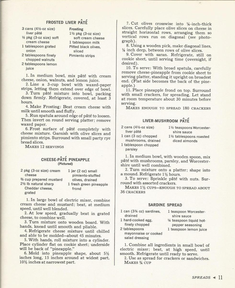 Vintage Cocktail Recipes 1960s Dips Spreads