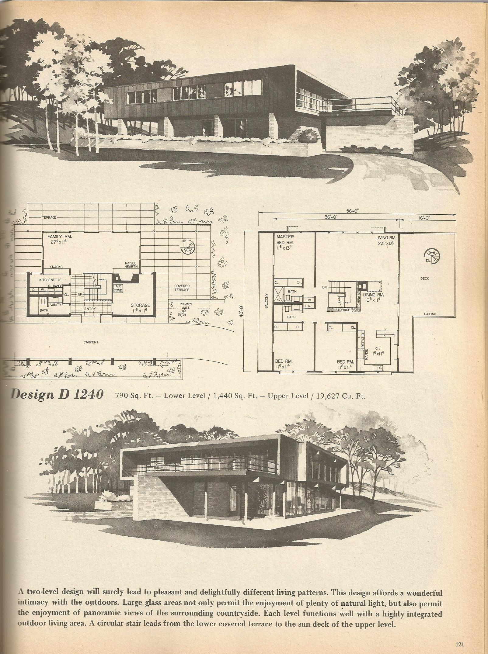Vintage house plans 1240 antique alter ego for Retro home designs