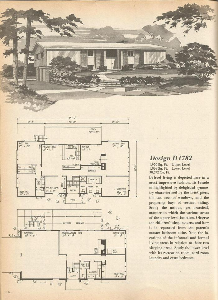 Vintage House Plans, Mid Century Homes, 1960s