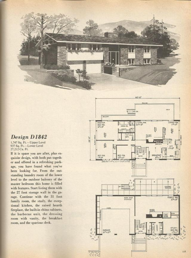 Vintage house plans multi level homes part 19 antique for Multi level house plans