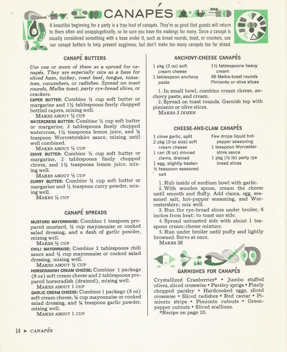Vintage Recipes, 1960s Recipes, Canapes