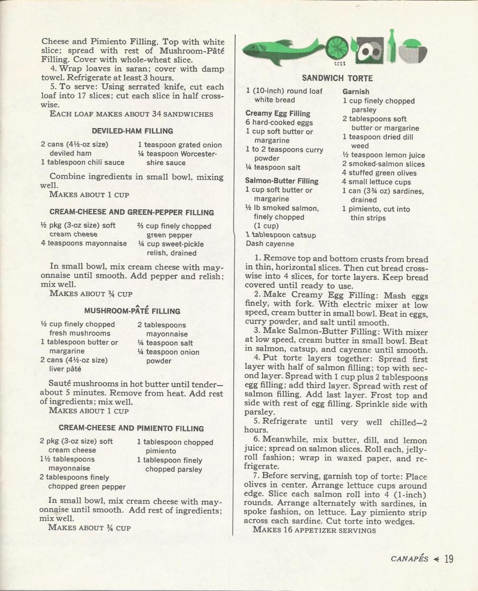 Vintage Recipes, 1960s Recipes, Canapes