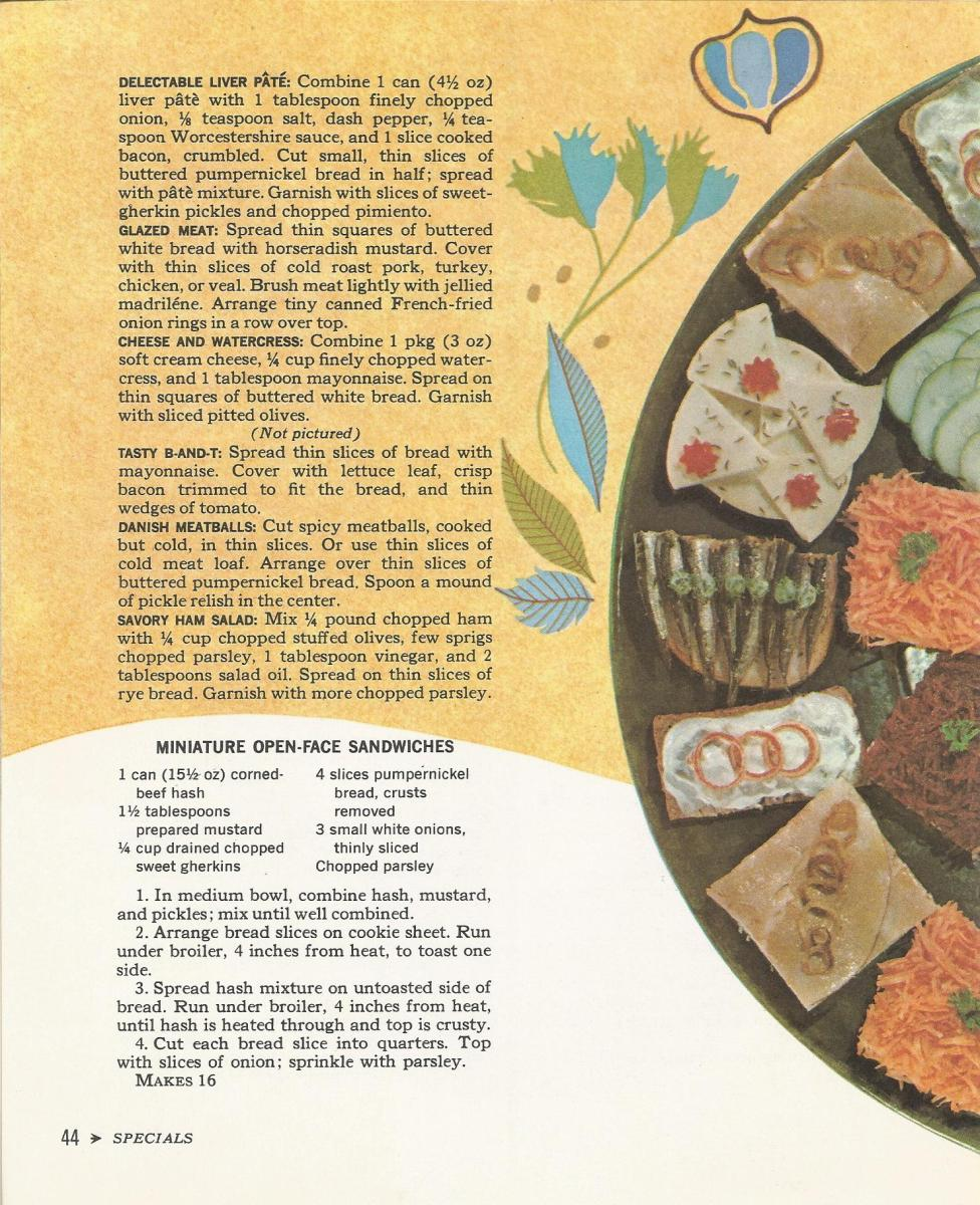 Cocktail Time, 1965, Appetizers, Vintage Recipes