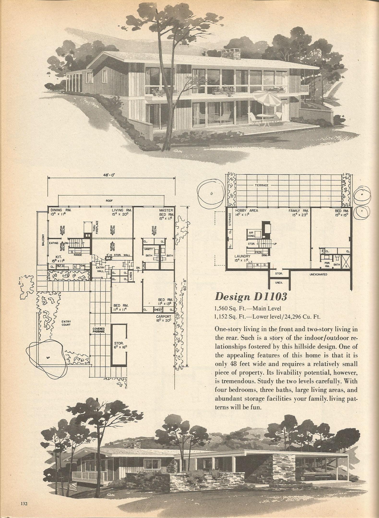 Vintage house plans 1103 antique alter ego for Split level house plans 1960s