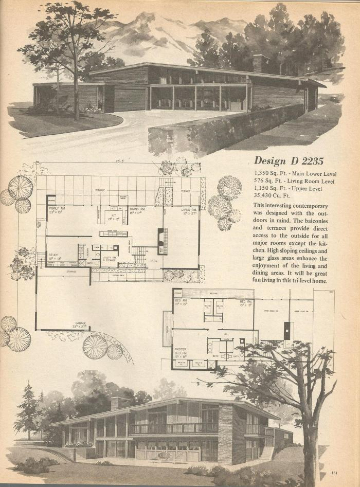 Vintage house plans multi level homes part 26 antique for Retro house plans