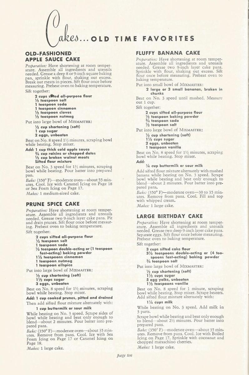 Sunbeam Mixmaster Cake Recipes