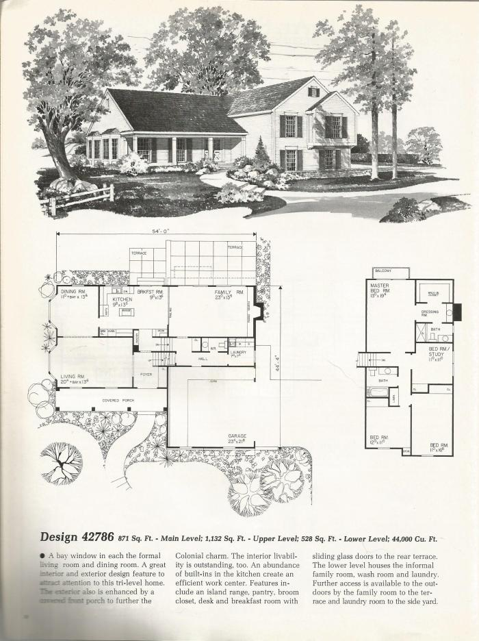 Vintage House Plans: Colonial Tri-Level Home