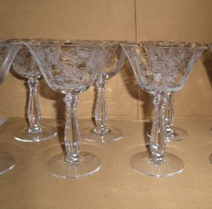 Fostoria Heather Champagne Goblets, Antique Alter Ego